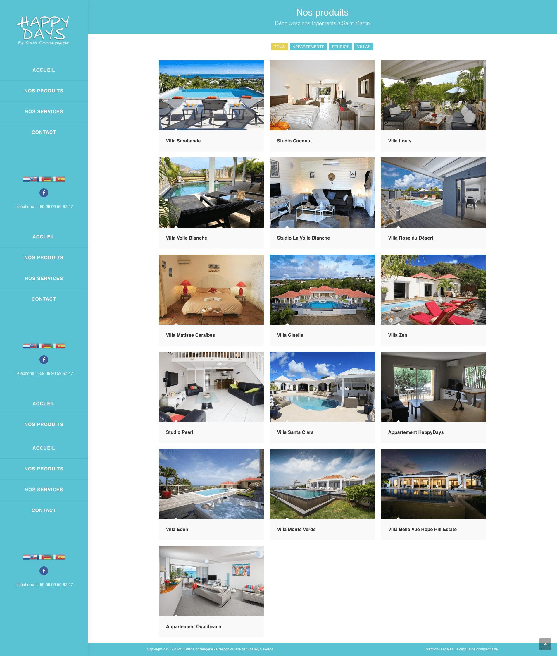 Création de site internet location immobilier saint martin