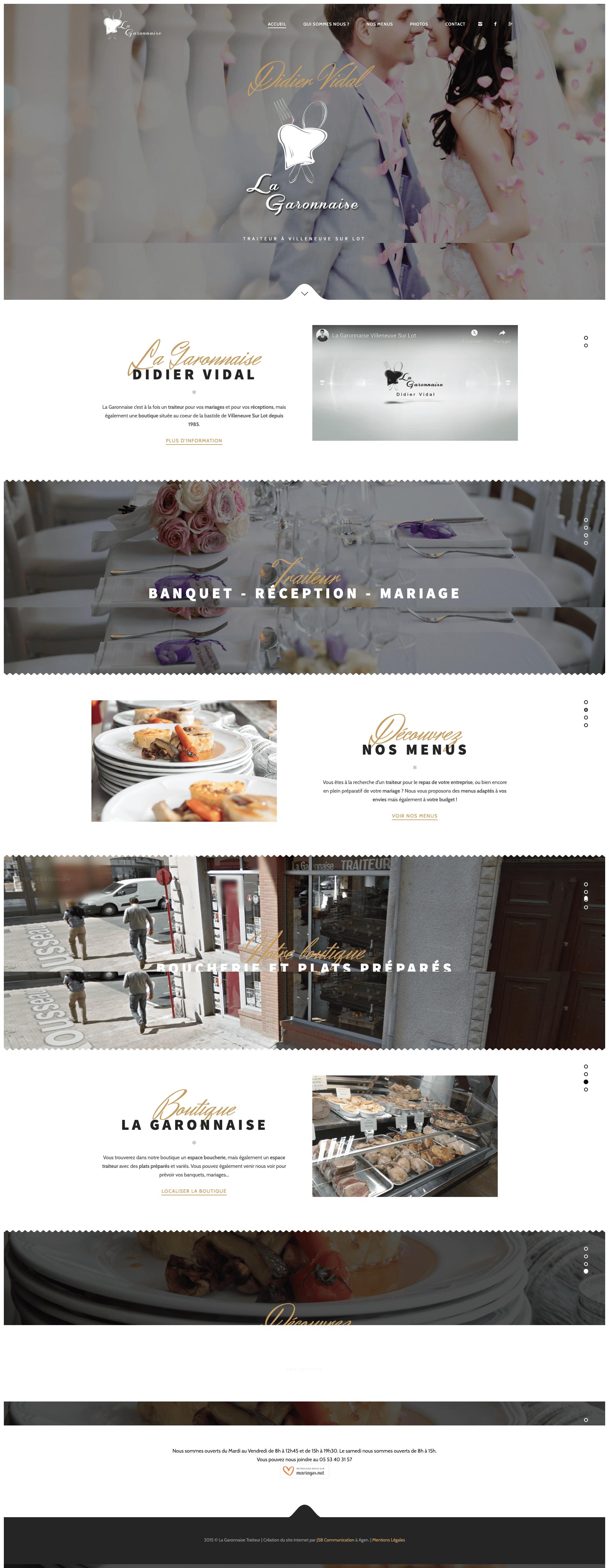 Création site internet traiteur mariage